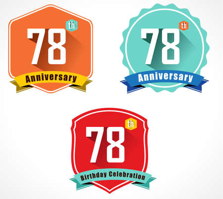 78: 78 year birthday celebration flat color vintage label badge, 78th anniversary decorative emblem