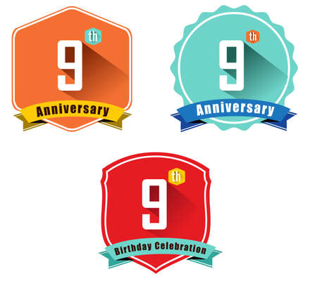 9th: 9 year birthday celebration flat color vintage label badge, 9th anniversary decorative emblem
