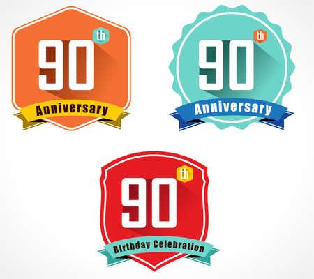 90th: 90 year birthday celebration flat color vintage label badge, 90th anniversary decorative emblem Illustration