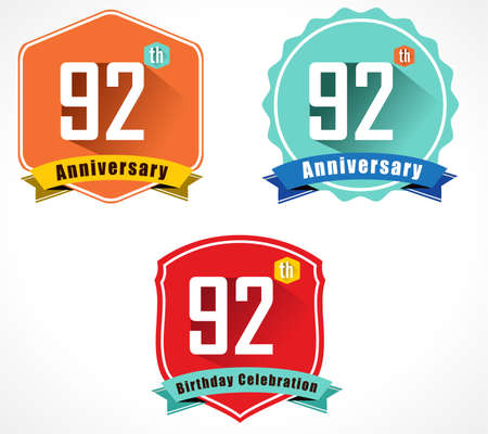 92: 92 year birthday celebration flat color vintage label badge, 92nd anniversary decorative emblem