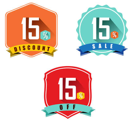 15: Set of 15% sale and discount, long shadow flat color design, 15 off - vector eps10