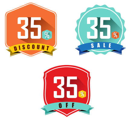 35: Set of 35% sale and discount, long shadow flat color design, 35 off - vector eps10