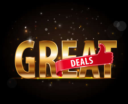 great: Great deal icon with thumbs up - vector