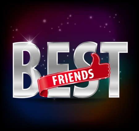 Best friends with thumb up sign typography design - vector  Vector