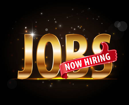 offered: jobs opening now Hiring red thumbs up advertising job offered and golden sign with the words Now Hiring isolated, Now Hiring Sign Illustration