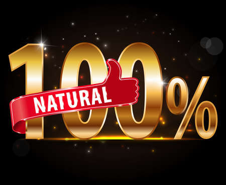 100 percent vector natural label with thumbs up icon - vector Vector