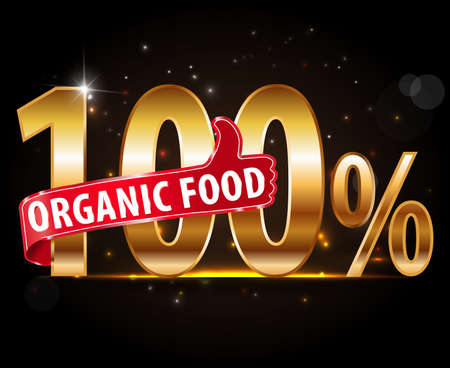 100% natural product, 100% organic typography with thumb up icon vector Vector