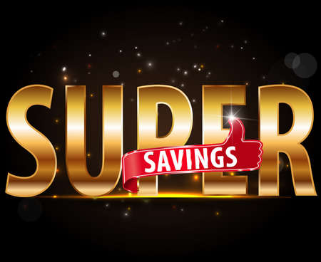 Super savings design, golden typography with thumbs up sign