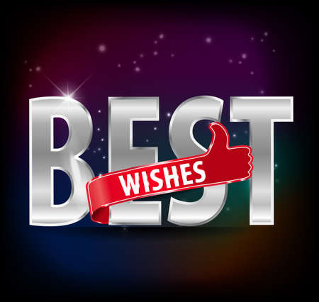 best wishes: Best Wishes with thumb up sign typography design - vector Illustration