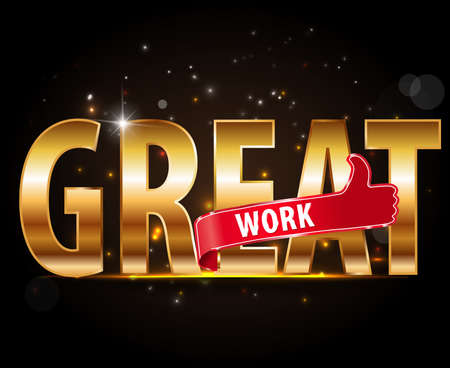 Good Work Lettering, golden typography Style with thumbs up sign Vector Design