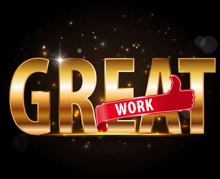 Buenas letras Trabajo, Estilo de la tipografía de oro con los pulgares para arriba signo de diseño vectorial