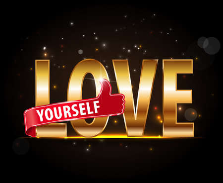 love yourself golden typography with thumbs up - vector eps10