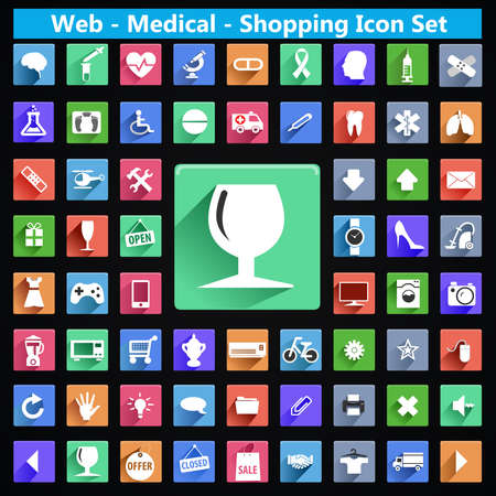 emergency cart: modern flat web medical shopping icons with long shadow effect in stylish colors, long shadow icon set - vector eps10 Illustration