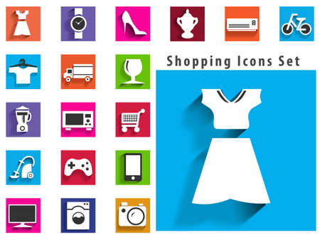 modern flat shopping icons with long shadow effect in stylish colors of shopping objects and items  Vector