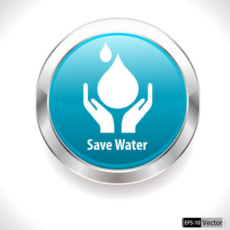 water concept: save water badge, water drop showing save water concept