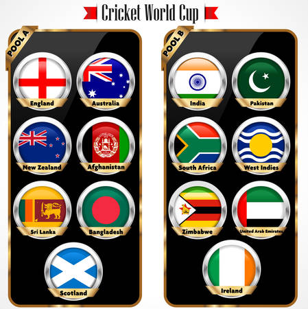 Cricket 2015 match schedule, cricket world cup team - vector eps10