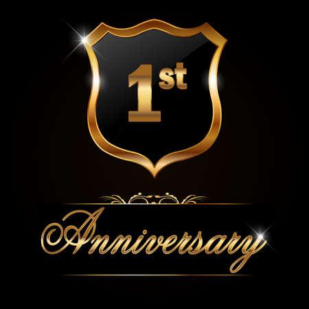 1 year anniversary golden label, decorative golden emblem - vector illustration