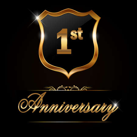 1 year anniversary: 1 year anniversary golden label, decorative golden emblem - vector illustration