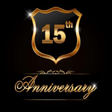 15 year anniversary golden label, decorative golden emblem - vector illustration Vector