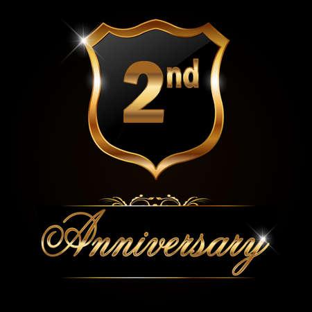 2 year anniversary golden label, decorative golden emblem - vector illustration 일러스트