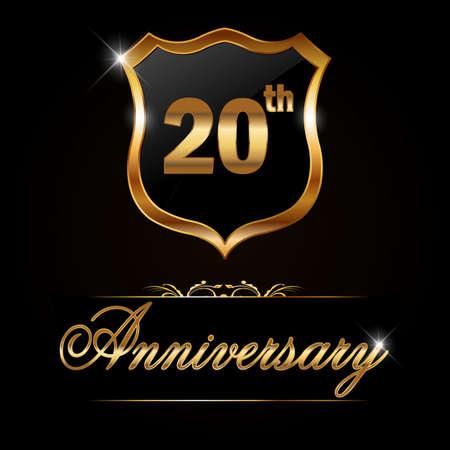 20 year anniversary golden label, decorative golden emblem - vector illustration Vector