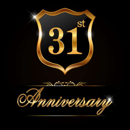 31: 31 year anniversary golden label, decorative golden emblem - vector illustration