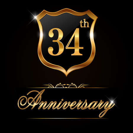 34: 34 year anniversary golden label, decorative golden emblem - vector illustration