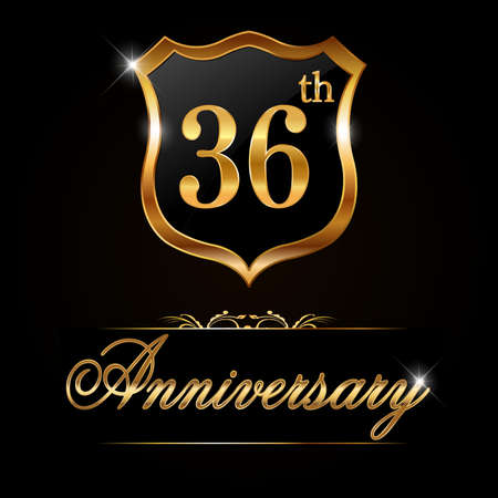 36: 36 year anniversary golden label, decorative golden emblem - vector illustration