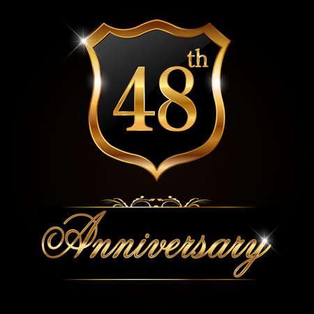48: 48 year anniversary golden label, decorative golden emblem - vector illustration