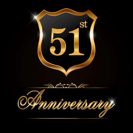 51: 51 year anniversary golden label, decorative golden emblem - vector illustration