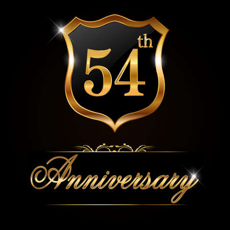54 year anniversary golden label, decorative golden emblem - vector illustration 일러스트