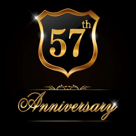 57: 57 year anniversary golden label, decorative golden emblem - vector illustration