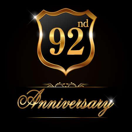 92: 92 year anniversary golden label, decorative golden emblem - vector illustration