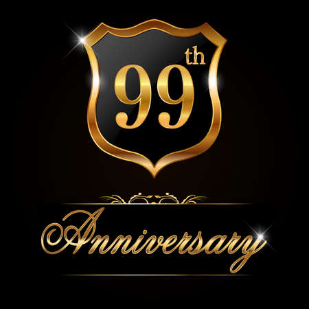 99: 99 year anniversary golden label, decorative golden emblem - vector illustration
