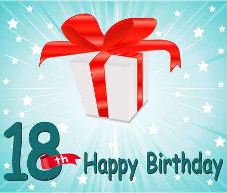 happy birthday 18: 18  year Happy Birthday Card with gift and colorful background in vector EPS10