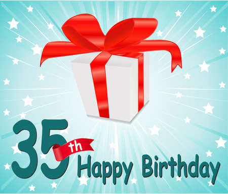 35: 35  year Happy Birthday Card with gift and colorful background