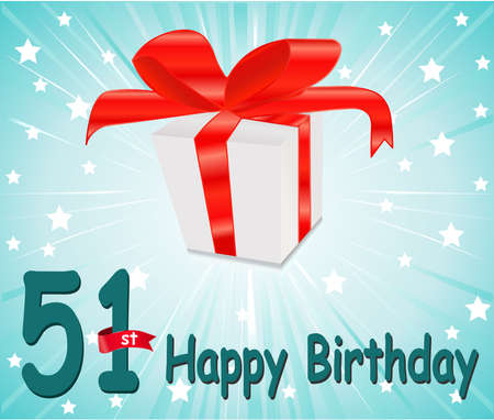 51: 51  year Happy Birthday Card with gift and colorful background