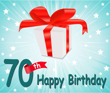 70: 70  year Happy Birthday Card with gift and colorful background
