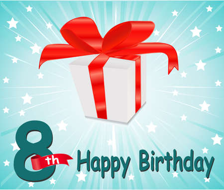 8 years birthday: 8  year Happy Birthday Card with gift and colorful background in vector EPS10