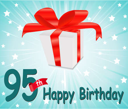 95: 95 anni Happy Birthday Card con il regalo e sfondo colorato