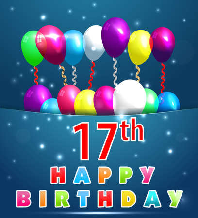 17th: 17 year Happy Birthday Card with balloons and ribbons, 17th birthday
