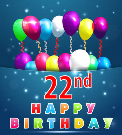 22 Year Happy Birthday Card With Balloons And Ribbons 22nd Birthday