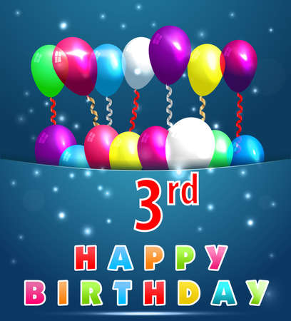 3rd: 3 year Happy Birthday Card with balloons and ribbons, 3rd birthday - vector EPS10
