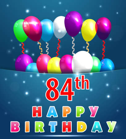 84 year Happy Birthday Card with balloons and ribbons,84th birthday 일러스트