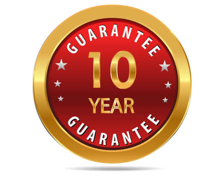 10 year guarantee golden red button, badge,sign Vectores