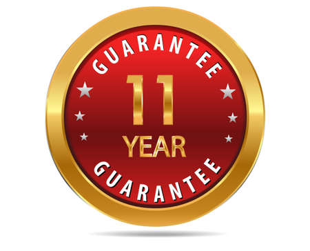 1 year warranty: 11 year guarantee golden red button, badge,sign
