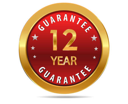 a 12: 12 year guarantee golden red button, badge,sign Illustration