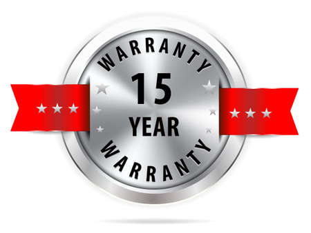 15: silver 15 year warranty button seal graphic with red ribbons