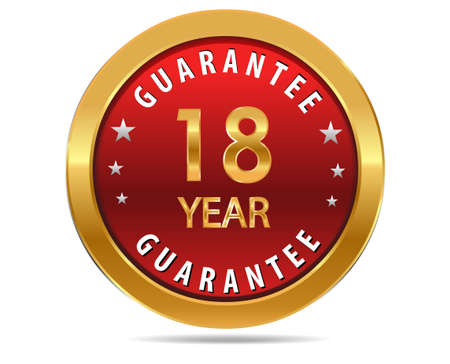 pledge: 18 year guarantee golden red button, badge,sign Illustration