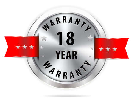 pledge: silver 18 year warranty button seal graphic with red ribbons